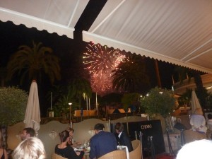 Watching the fireworks from our table at the Martinez