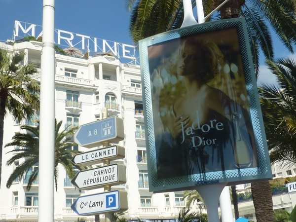 Charlize Theron's poster just outside the Martinez