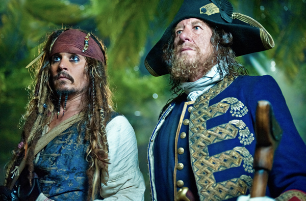 Johnny Depp and Geoffrey Rush in Pirates of the Caribbean: On Stranger Tides