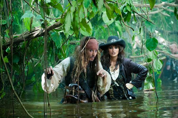 Captain Sparrow (Johnny Depp) and the enigmatic Angelica (Penelope Cruz)