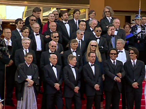 34 Directors from Gilles Jacobs A Special Day posing on the red carpet at the Cannes Film Festival