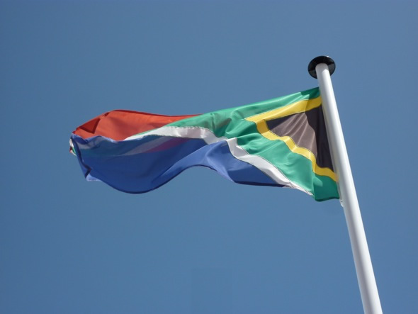 South African flag outside the SA Pavillion in Cannes 2012